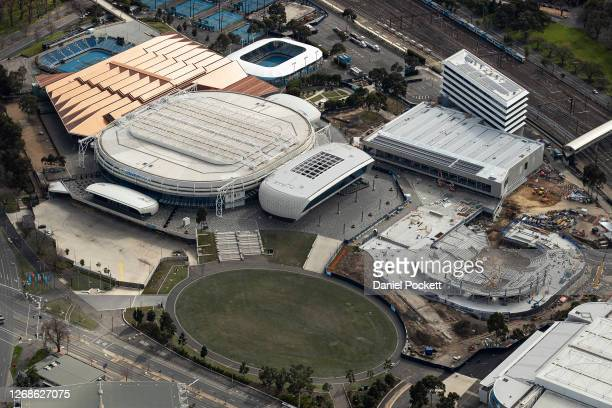 An aerial view of Melbourne Park on August 26 2020 in Melbourne Australia Melbourne is in stage four lockdown for six weeks until September 13 after...