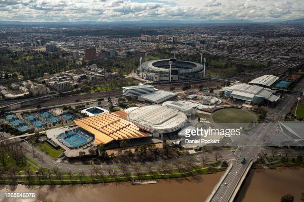 An aerial view of Melbourne Park precinct on August 26 2020 in Melbourne Australia Melbourne is in stage four lockdown for six weeks until September...