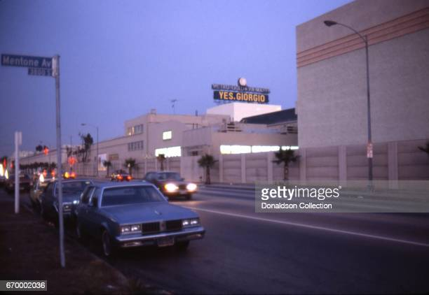 An aerial view of MGM Studios and Mentone Ave in October 1982 in Los Angeles California