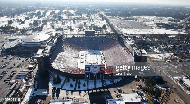 An aerial view of Michigan Stadium as members from the NHL prepare for the 2014 Bridgestone NHL Winter Classic on December 28 2013 in Ann Arbor...