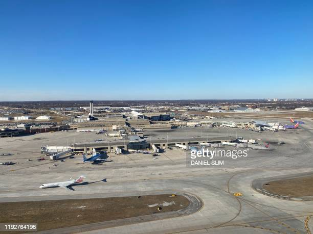 An aerial view of Milwaukee Mitchell International Airportin Milwaukee Wisconsin on January 8 2020