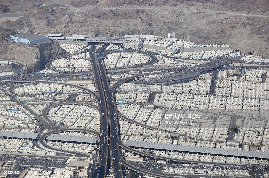 An aerial view of Mina region and the tents set up for the pilgrims as prospect pilgrims continue flooding onto sacred soil for the 2016 Hajj in Mecca, Saudi Arabia on September 13, 2016.