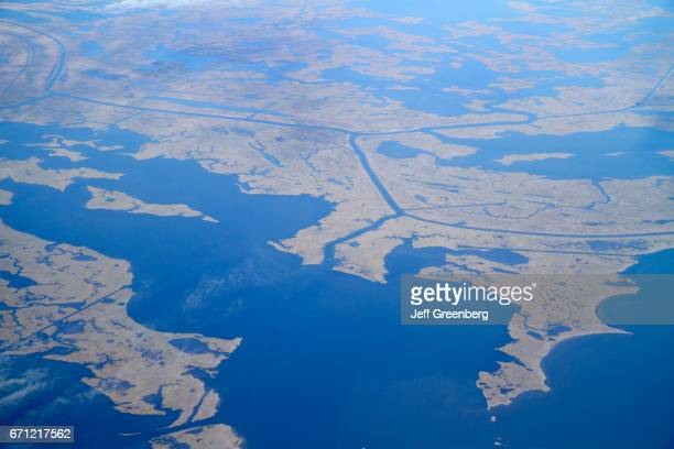 An aerial view of Mississippi River Delta