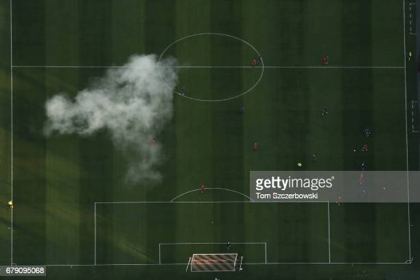 An aerial view of MLS action between the Toronto FC and Orlando City SC as smoke can be seen after fireworks went off at BMO Field of Major League...