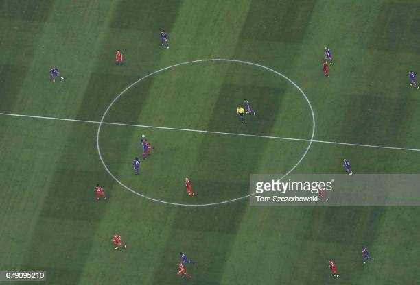 An aerial view of MLS action between the Toronto FC and Orlando City SC at BMO Field of Major League Soccer on May 3 2017 in Toronto Ontario Canada