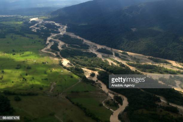 An aerial view of Mocoa Putumayo Colombia on April 02 2017 At least 273 people lost their lives after three rivers in southern Colombia Mocoa Mulato...