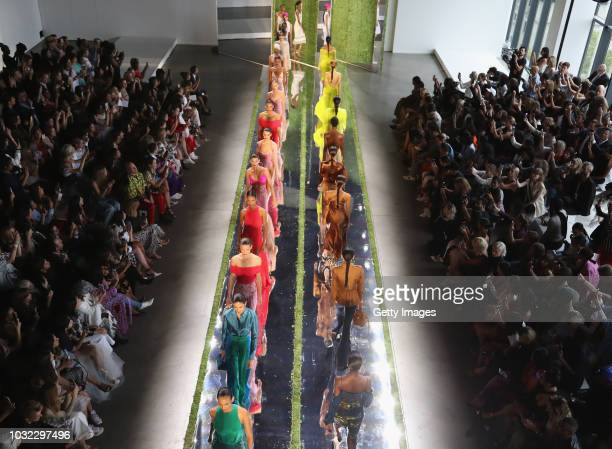 An Aerial view of models walking the runway for Cushnie during New York Fashion Week The Shows at Gallery II at Spring Studios on September 12 2018...