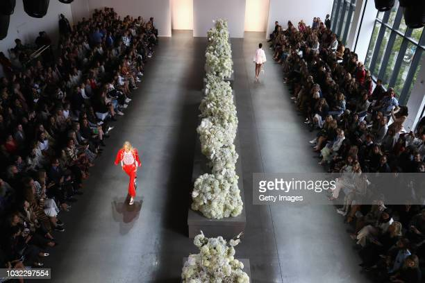 An aerial view of models walking the runway for Zimmermann during New York Fashion Week The Shows at Gallery II at Spring Studios on September 12...