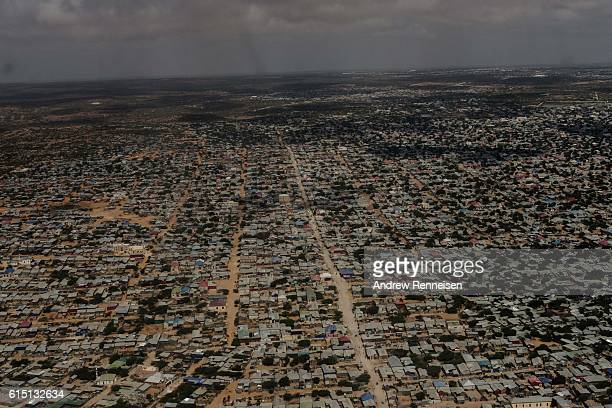 An aerial view of Mogadishu is seen from a United Nations helicopter on October 10 2016 in Mogadishu Somalia Somalia is on the brink of its first...