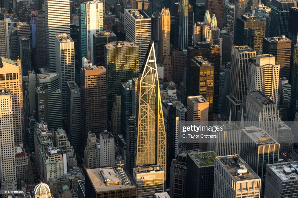 An aerial view of MoMA Expansion Tower on August 9, 2019 in New York City. : Stock Photo