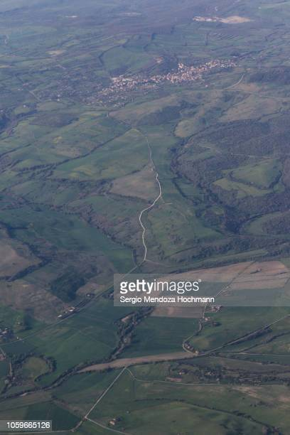 An aerial view of Monte Romano, a small town in the province of Viterbo, Italy