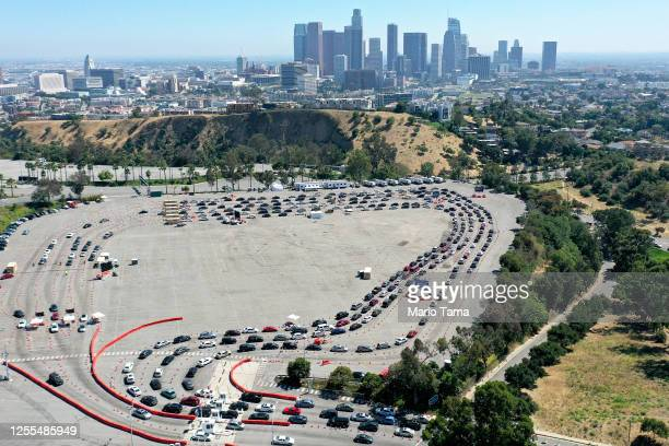 An aerial view of motorists lined up to be tested for COVID19 in a parking lot at Dodger Stadium amid the coronavirus pandemic on July 10 2020 in Los...