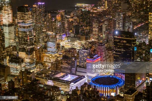 An aerial view of Moynihan Station and Madison Square Garden on February 26, 2021 in New York City.