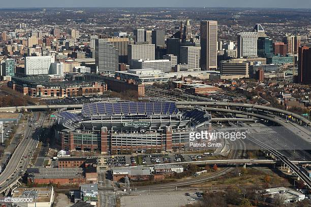 An aerial view of MT Bank Stadium and Oriole Park at Camden Yards on December 1 2016 in Baltimore Maryland