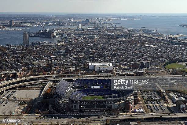 An aerial view of MT Bank Stadium on December 1 2016 in Baltimore Maryland