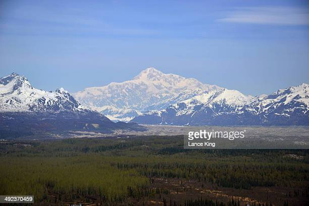 An aerial view of Mt McKinley on May 12 2014 in Denali National Park Alaska According to the National Park service the summit elevation of Mt...