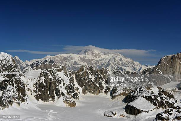 An aerial view of Mt McKinley on May 17 2014 in Denali National Park Alaska According to the National Park service the summit elevation of Mt...