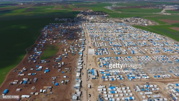 An aerial view of Mukaveme refugee is seen camp as Syrians shelter since the beginning of the Syrian civil war in 2011 in Azaz Syria on March 15 2018