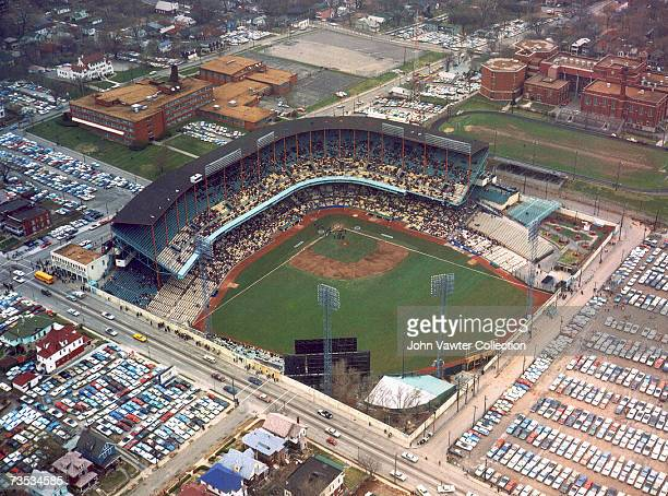 An aerial view of Municipal Stadium home of the Kansas City A's prior to a game in 1960's in Kansas City Missouri