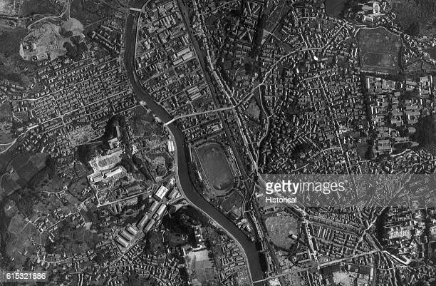 An aerial view of Nagasaki in Japan on August 7 before the atomic bomb was dropped on August 9 and devastated the densely populated city This bomb...