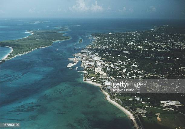 An aerial view of Nassau Bahamas with Paradise Island on the left circa 1968