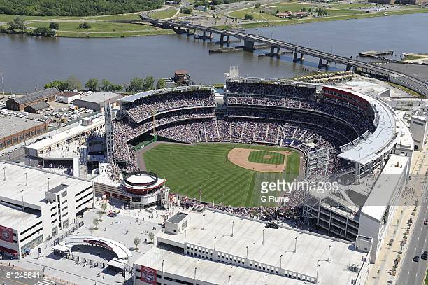 An aerial view of Nationals Park during the game between the Milwaukee Brewers and the Washington Nationals on May 25 2008 in Washington DC