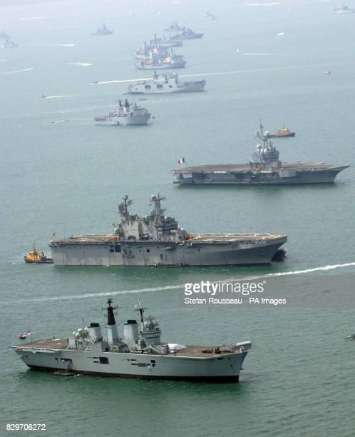 An aerial view of naval ships from 35 nations gathering in the Solent for the International Fleet Review ahead of Tuesday's 200th anniversary of the...