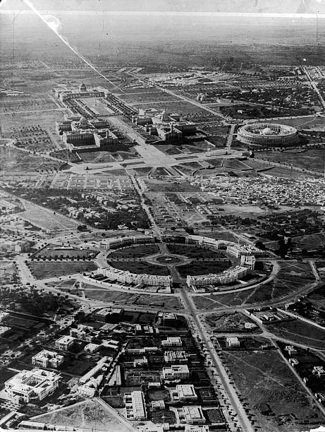 An aerial view of New Delhi in India, circa 1930. At...