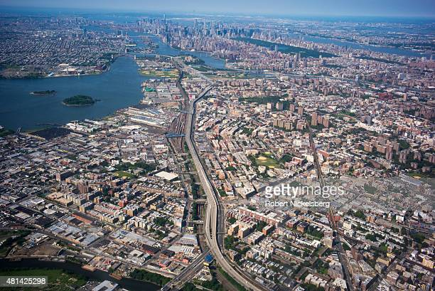 An aerial view of New York City can be seen July 3 2015 from an American Airlines jet plane