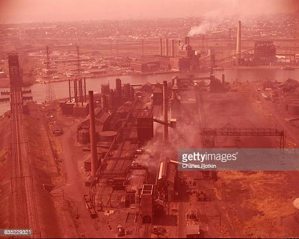An aerial view of Newark New Jersey shows smoke contributing to air pollution emitted from power plants coke plants and other industrial sites |...