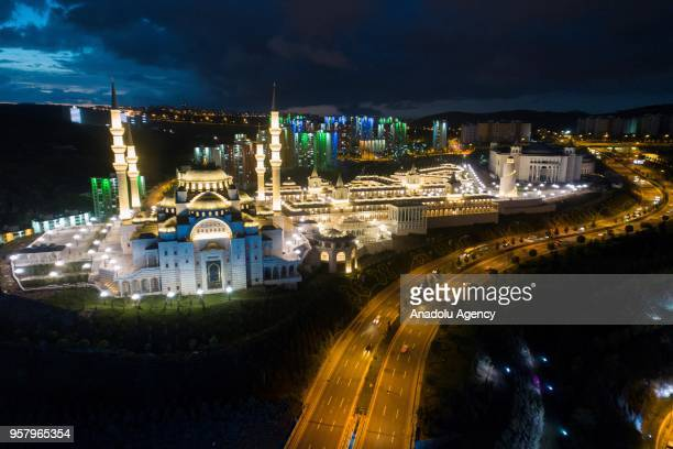 An aerial view of newly built mosque complex that was built over 125000 square meters is seen in Ankara Turkey on May 12 2018 The compound that has...