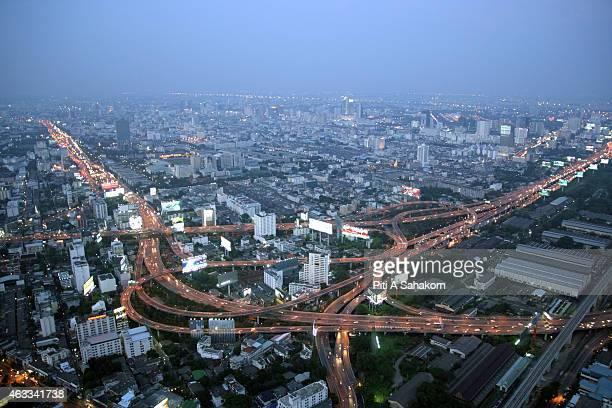 An aerial view of nighttime Bangkok