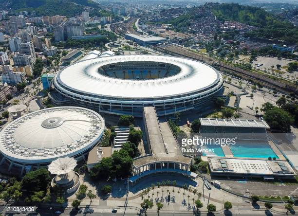 An aerial view of of the Rio 2016 Olympic Park amidst the coronavirus pandemic located in Barra da Tijuca on April 23, 2020 in Rio de Janeiro,...