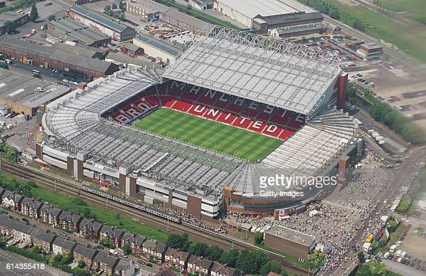An aerial view of Old Trafford home of Manchester United FC before the EURO 96' match between Germany and Russia on June 16 1996 in Manchester England