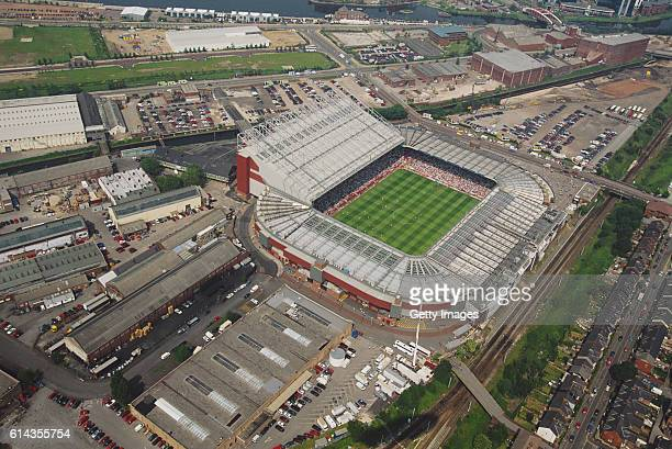 An aerial view of Old Trafford home of Manchester United FC during the EURO 96' match between Germany and Russia on June 16 1996 in Manchester England