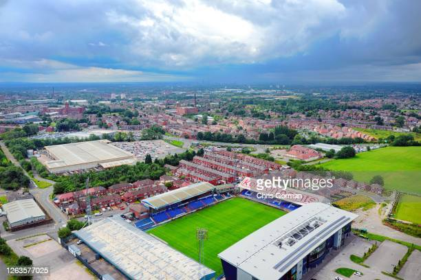An aerial view of Oldham Athletic ground on August 12020 in Oldham England