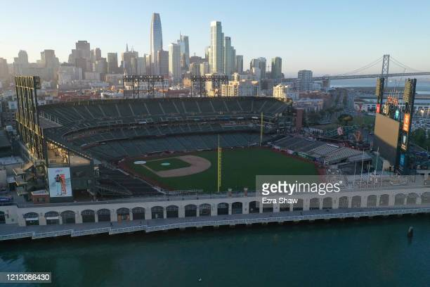 An aerial view of Oracle Park where the San Francisco Giants play on March 12 2020 in San Francisco California The NBA NHL NCAA and MLB have all...