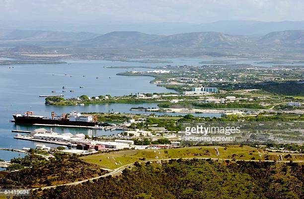 An aerial view of part of the Guantanamo Base Naval Station in Guantanamo Bay, Cuba, can be seen in this 16 January 2002 photo. US General Mike...