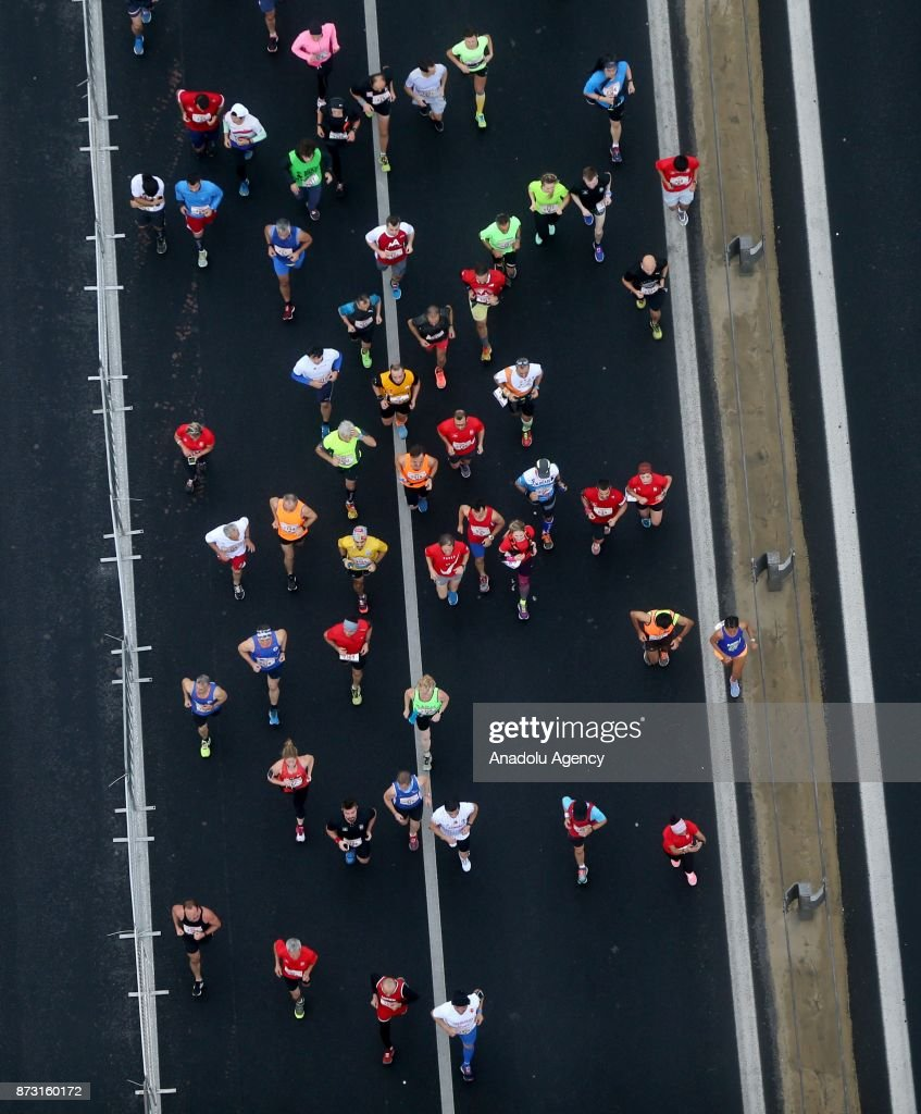 Competitors take part in the 39th Istanbul Marathon, the only course in the world that covers two continents