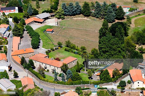 An aerial view of 'Pazo de Dodro' farm and estate owned by Amancio Ortega majority shareholder of the store chains Inditex and Zara on September 2...