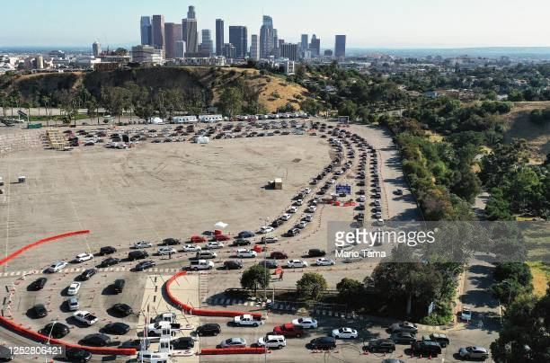 An aerial view of people in cars lined up to be tested for COVID-19 in a parking lot at Dodger Stadium amid the coronavirus pandemic on June 26, 2020...