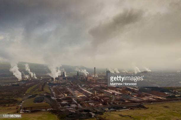 An aerial view of Port Talbot steelworks on January 22, 2020 in Port Talbot, United Kingdom.