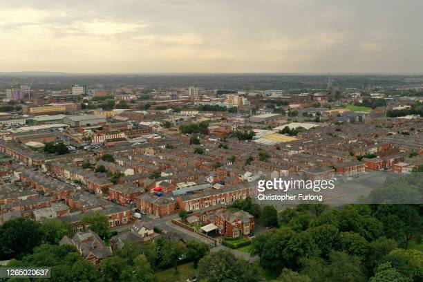 An aerial view of Preston city centre during the coronavirus pandemic on August 10, 2020 in Preston, England. As this past weekend, residents of...