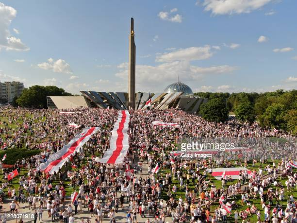 An aerial view of protesters during a demonstration on August 16 2020 in Minsk Belarus There have been daily demonstrations in the Belarusian capital...