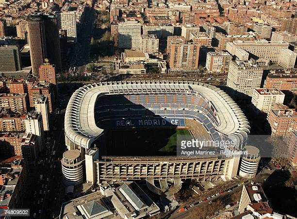 An aerial view of Real Madrid's Santiago Bernabeu stadium on February 14 1998 in Madrid Spain