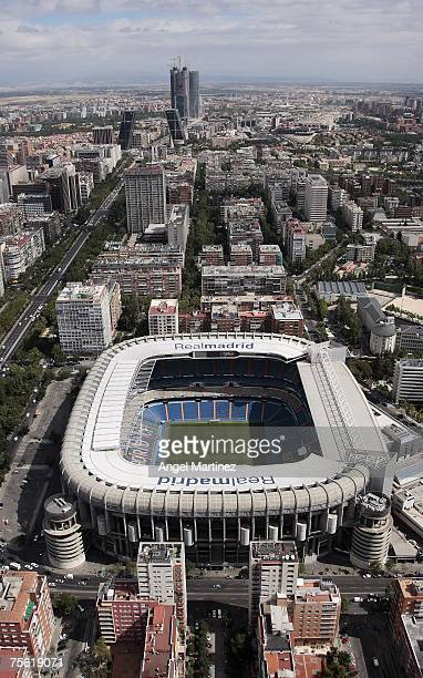 An aerial view of Real Madrid's Santiago Bernabeu stadium on July 23 2007 in Madrid Spain