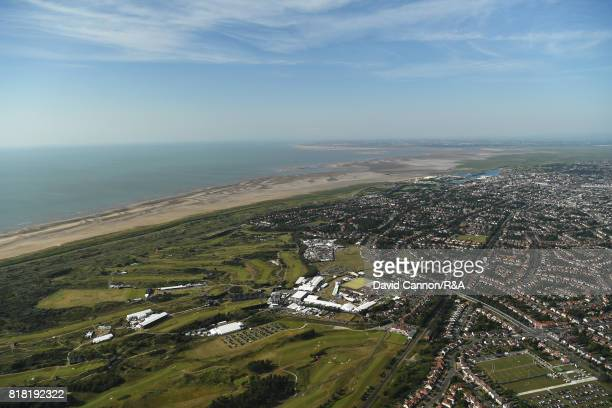 An aerial view of Royal Birkdale Golf Club during a practice round prior to the 146th Open Championship at Royal Birkdale on July 18 2017 in...