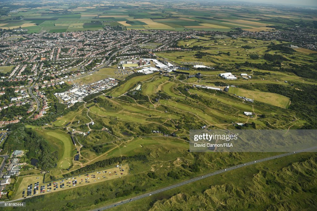 An aerial view of Royal Birkdale Golf Club during a practice round prior to the 146th Open Championship at Royal Birkdale on July 18, 2017 in Southport, England.