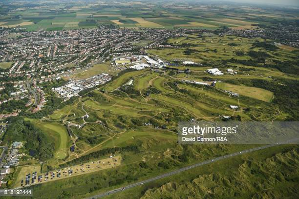 An aerial view of Royal Birkdale Golf Club during a practice round prior to the 146th Open Championship at Royal Birkdale on July 18, 2017 in...