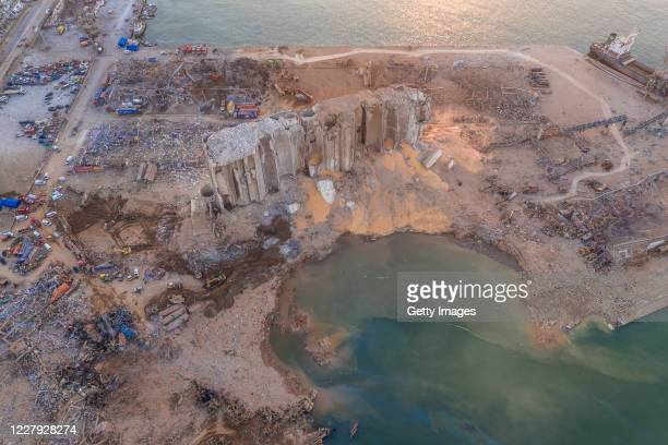 An aerial view of ruined structures at the port damaged by an explosion a day earlier on August 5 2020 in Beirut Lebanon As of Wednesday more than...